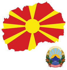 Flag and coat of arms of the Republic Macedonia