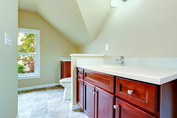 Empty bathroom with vaulted ceiling