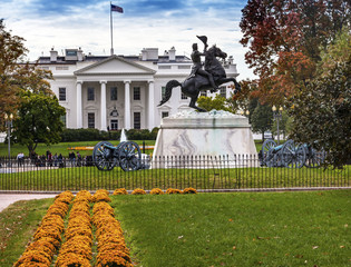 Jackson StatueLafayette Park White House Autumn Washington DC