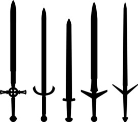 silhouettes of medieval swords
