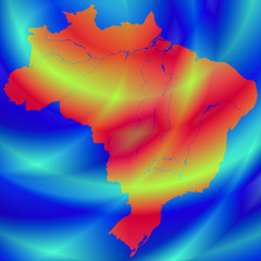 Brazil map on abstract background