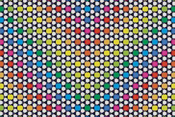 背景素材壁紙,六角ダイヤと編み目,虹,虹色,七色,六角,六角形,ポスター,CM,ハニカム,チラシ,販促,広告,宣伝,コマーシャル