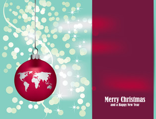 stmas Card with Christmas decoration and world map