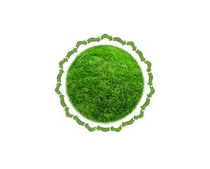 green grass ball on white