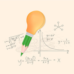 Pencil and lightbulb with math calculations vector illustration.