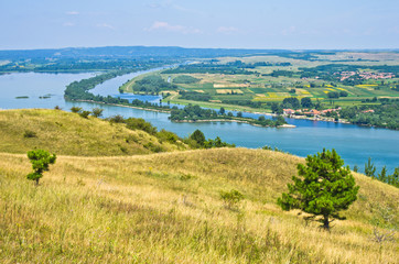 Panorama and landscape near Danube river in Serbia