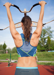 woman back, girl exercise outdoors