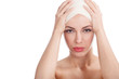 beautiful girl with head bandages,plastic surgery cosmetology co