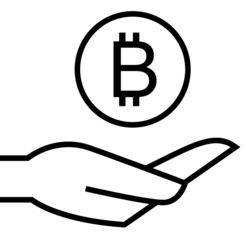 Bitcoin on hand icon