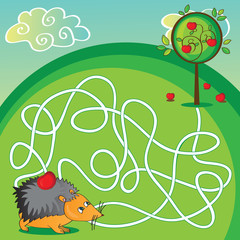 Maze for kids - help the hedgehog to get to the apple