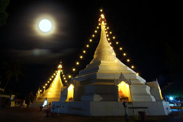 Thailand temple at night, the full moon