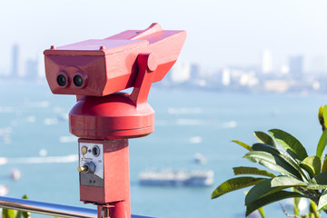 binoculars for sightseeing from the view point of Pattaya city