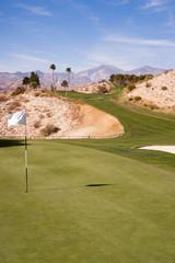 Cup Flag Golf Course Green Desert Palm Springs Vertical Mountain