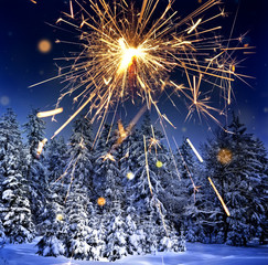 winter landscape and sparkler