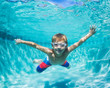 Leinwanddruck Bild - Young Boy Diving Underwater in Swimming Pool