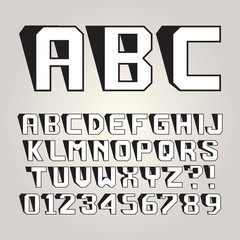 Abstract Lean Shadow Alphabet and Numbers, Editable eps10 Vector
