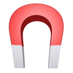 Red magnet isolated on a white background