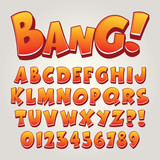 Fototapety Comic Pop Art Alphabet and Numbers, Editable eps10 Vector