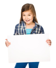 Little girl is holding a blank banner