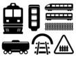 rail road icons set