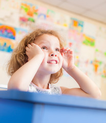 First grader in a classroom