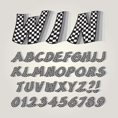 Checkered Flag Alphabet and Numbers, Editable eps10 Vector