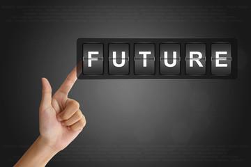 hand pushing future on Flip Board