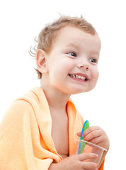 A happy young girl brushes his teeth. white background