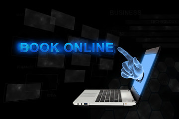 pointing hand book online with digital background