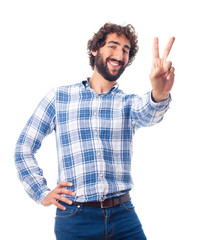 young man victory gesture