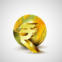 World economic concept with 3d gold world and Rupee currency