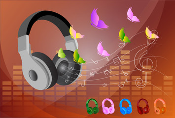 Vector flat concept - headphones and musical note