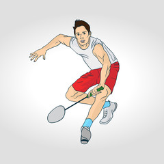 illustration of Badminton: Badminton player