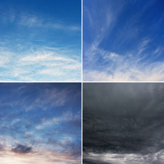 Four diferent images of sky, morning, day, evening and storm.