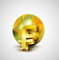 World economic concept with 3d gold world and franc currency