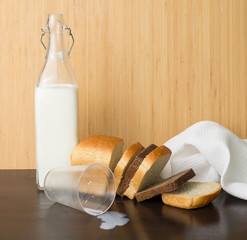 Milk bottle and bread