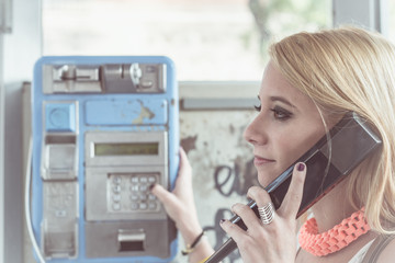 Young girl calling by phone