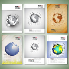 World globe with different Doodles. Brochure, flyer or report