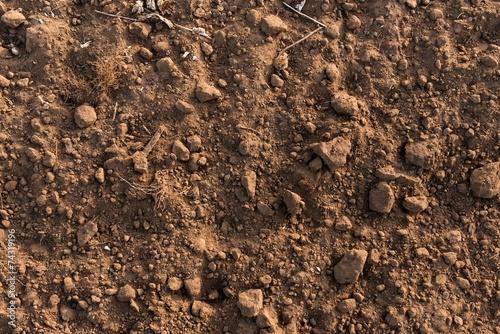Dry soil closeup before rain - 74319196
