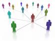 Social network, colorful human symbol