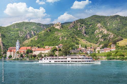 Poster Rivier Dürnstein with Danube River, Wachau, Austria