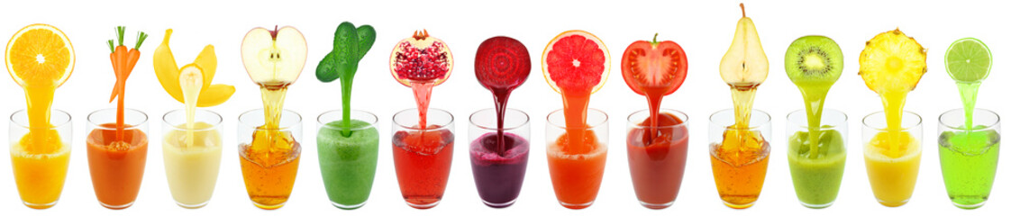 fruit juices isolated