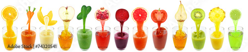 canvas print picture fruit juices isolated