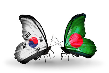 Two butterflies with flags  South Korea and Bangladesh