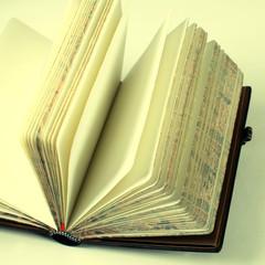 Vintage open blank notebook