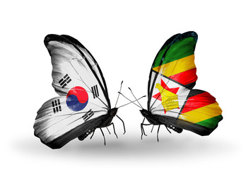 Two butterflies with flags South Korea and Zimbabwe
