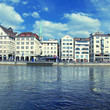 Zurich cityscape and river Limmat, Switzerland .