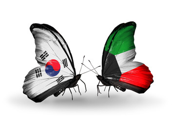 Two butterflies with flags  South Korea and Kuwait