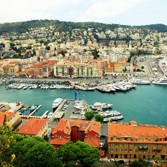 Cityscape of Nice(France), harbor view from above