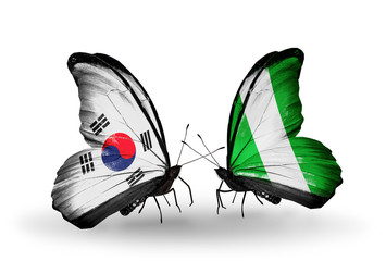 Two butterflies with flags South Korea and Nigeria